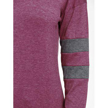 Drop Shoulder Color Block Tunic Sweatshirt - PURPLE S