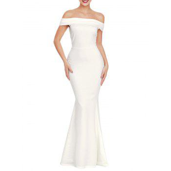 Back Slit Off The Shoulder Prom Dress - WHITE S