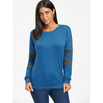 Drop Shoulder Color Block Tunic Sweatshirt - BLUE S