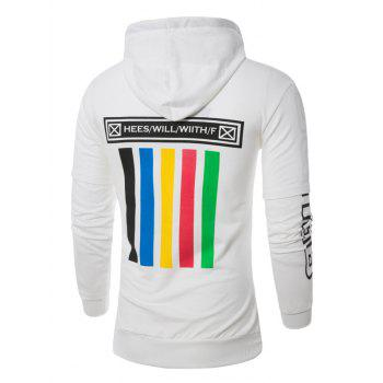 Colorful Stripe Graphic Print Pullover Hoodie - WHITE 3XL
