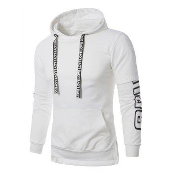 Colorful Stripe Graphic Print Pullover Hoodie - WHITE WHITE