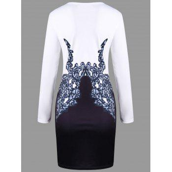 Printed Long Sleeve Bodycon Dress - WHITE L