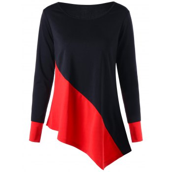 Long Sleeve Color Block Asymmetric Top - RED WITH BLACK M