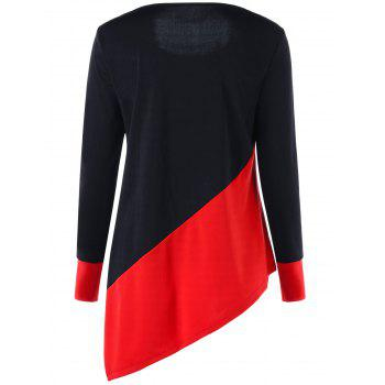 Long Sleeve Color Block Asymmetric Top - RED/BLACK M