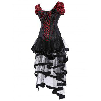 Gothic Checked Lace Up Corset with Sheer Skirt - RED/BLACK RED/BLACK