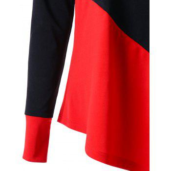 Long Sleeve Color Block Asymmetric Top - RED/BLACK XL