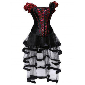 Gothic Checked Lace Up Corset with Sheer Skirt - RED/BLACK 2XL