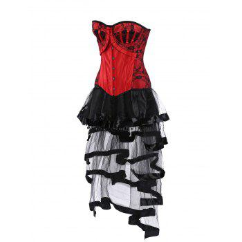 Lace Up Vintage Corset with Long Flounce Skirt - S S