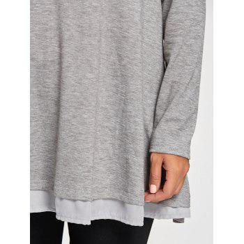 Chiffon Trimmed Scoop Neck Tunic Top - GRAY S