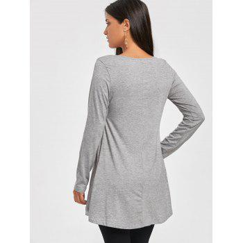 Chiffon Trimmed Scoop Neck Tunic Top - GRAY M