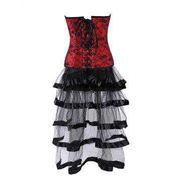 Lace Up Vintage Corset with Long Flounce Skirt - COLORMIX XL