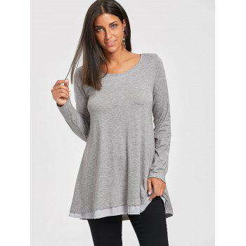 Chiffon Trimmed Scoop Neck Tunic Top - L L