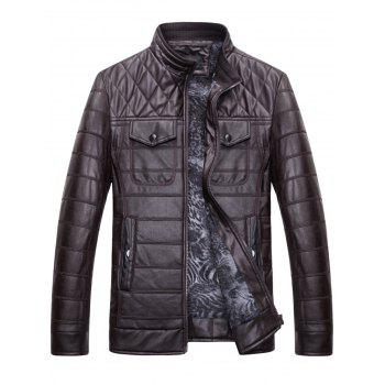 Button Chest Pockets Quilted Faux Leather Jacket - 2XL 2XL