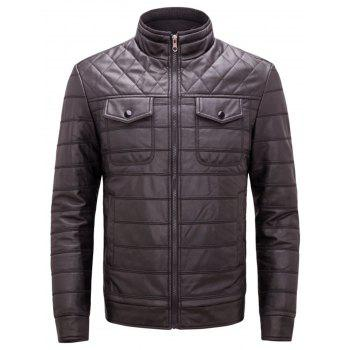 Button Chest Pockets Quilted Faux Leather Jacket - COFFEE COFFEE