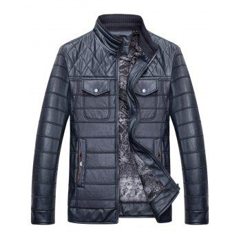 Button Chest Pockets Quilted Faux Leather Jacket - 3XL 3XL