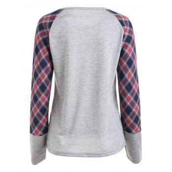 Plaid Raglan Sleeve Pocket Top - GRAY GRAY