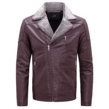 Zip Up Notch Lapel Faux Leather Jacket - WINE RED 3XL