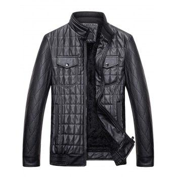 Quilted Grid Stand Collar Faux Leather Jacket - BLACK XL