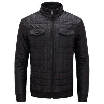 Quilted Grid Stand Collar Faux Leather Jacket - BLACK BLACK