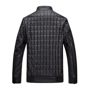 Quilted Grid Stand Collar Faux Leather Jacket - 3XL 3XL