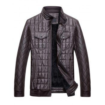 Quilted Grid Stand Collar Faux Leather Jacket - COFFEE 3XL