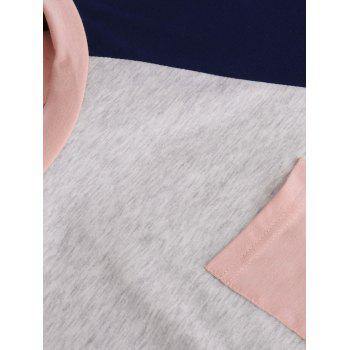 Color Block Raglan Sleeve Pocket T-shirt - PINK S