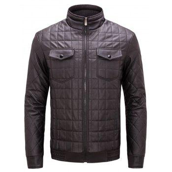Quilted Grid Stand Collar Faux Leather Jacket - COFFEE COFFEE