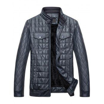 Quilted Grid Stand Collar Faux Leather Jacket - BLUE 3XL