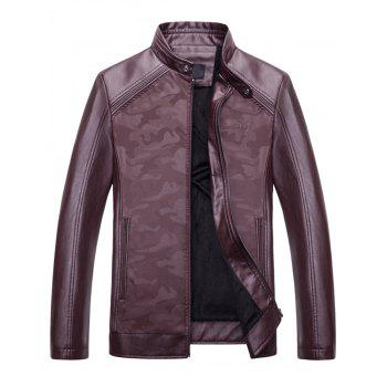 Camouflage Print Zip Up Faux Leather Jacket - WINE RED XL
