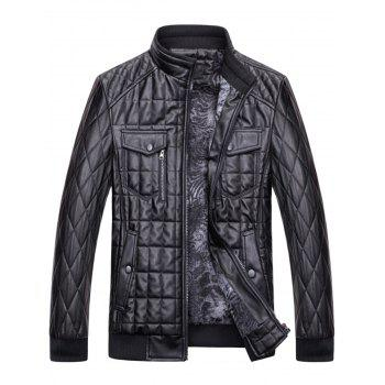 Chest Flap Pockets Quilted Faux Leather Jacket - BLACK BLACK