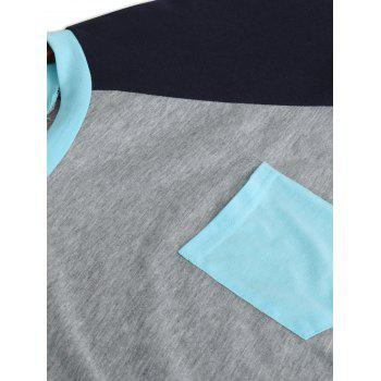 Color Block Raglan Sleeve Pocket T-shirt - LAKE BLUE XL