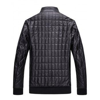 Chest Flap Pockets Quilted Faux Leather Jacket - BLACK 3XL