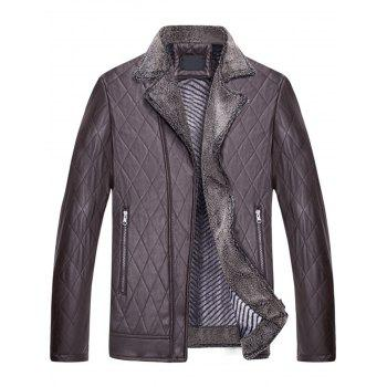Notch Lapel Checked Faux Leather Jacket - COFFEE XL