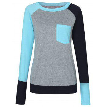Color Block Raglan Sleeve Pocket T-shirt - LAKE BLUE LAKE BLUE