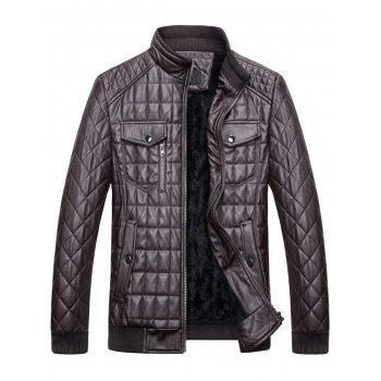 Chest Flap Pockets Quilted Faux Leather Jacket - 3XL 3XL