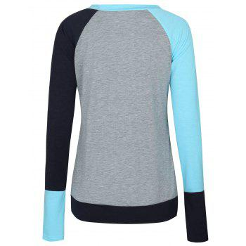 Color Block Raglan Sleeve Pocket T-shirt - LAKE BLUE M