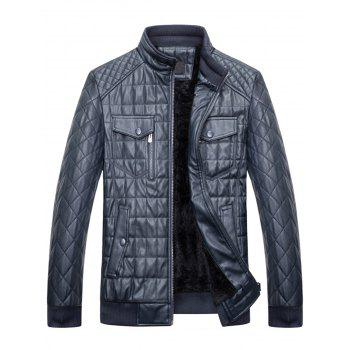 Chest Flap Pockets Quilted Faux Leather Jacket - DEEP BLUE 3XL