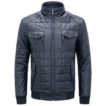 Chest Flap Pockets Quilted Faux Leather Jacket - DEEP BLUE 2XL