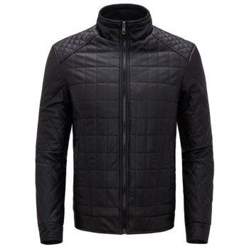 Checkered Grid Quilted Faux Leather Jacket - BLACK BLACK