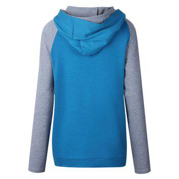 Casual Raglan Sleeve Color Block Hoodie - BLUE 2XL