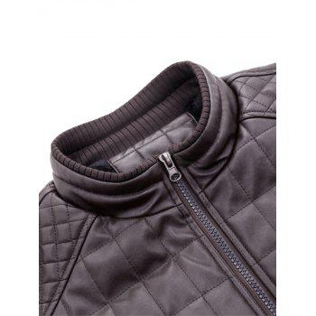 Checkered Grid Quilted Faux Leather Jacket - 3XL 3XL