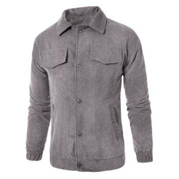 Graphic Embroidered Button Up Corduroy Jacket - GRAY 5XL
