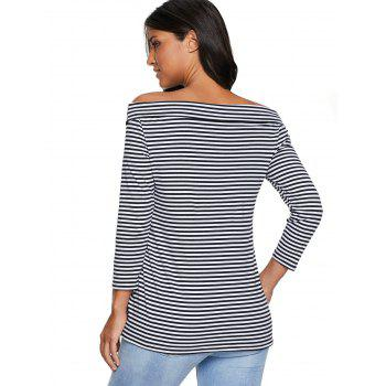 Striped Off The Shoulder T-shirt - STRIPE L