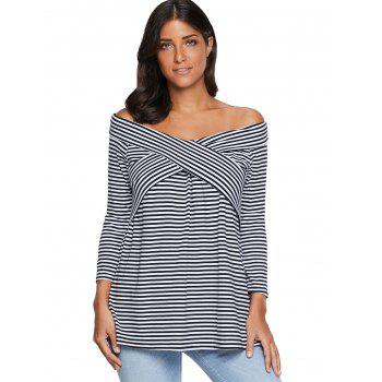 Striped Off The Shoulder T-shirt - STRIPE XL