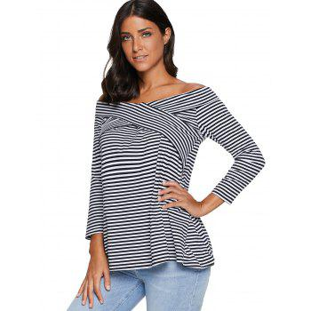 Striped Off The Shoulder T-shirt - STRIPE 2XL