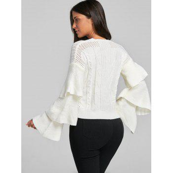 Ruffle Flare Sleeve Cable Knit Sweater - WHITE ONE SIZE