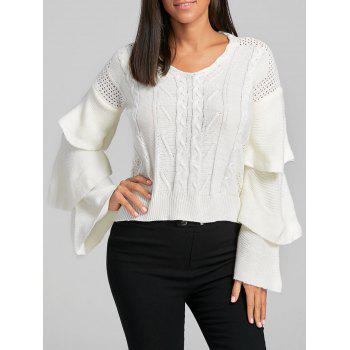 Ruffle Flare Sleeve Cable Knit Sweater - WHITE WHITE