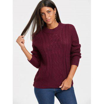 Mock Neck Cable Knitted Sweater - CLARET CLARET