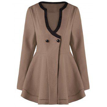 Button Skirted Coat - KHAKI XL
