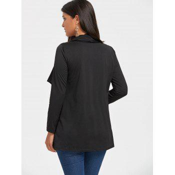 Long Sleeve Draped Tunic Cardigan - BLACK BLACK